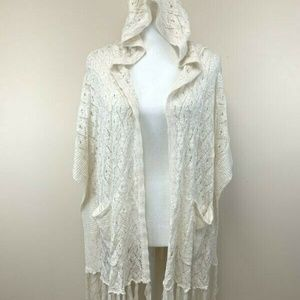 Umgee  Boho Crochet Hooded Cardigan Sweater